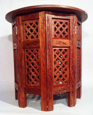 Hand-Carved wooden end table