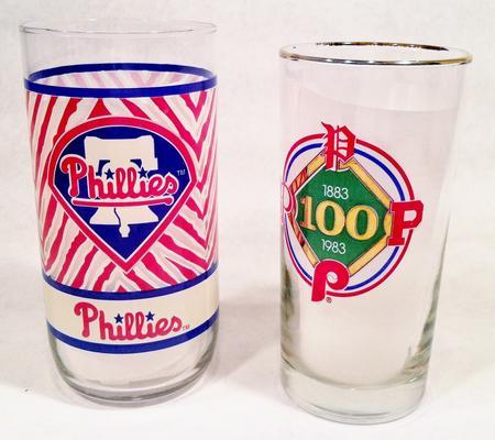 2 Phillies commemorative glasses