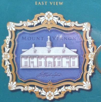 Mount Vernon ornaments (2) with 24k gold, 2001.