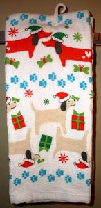 Holiday Dachshund Hand Towels