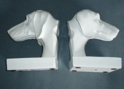 White Dachshund Bookends