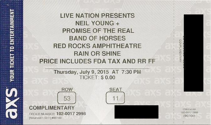 Red Rocks, CO - July 09 - Row 53 Seat 11