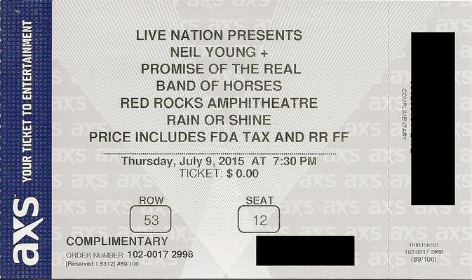 Red Rocks, CO - July 09 - Row 53 Seat 12