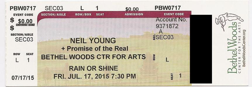 Bethel, NY - July 17 - Section 03 Row L Seat 01