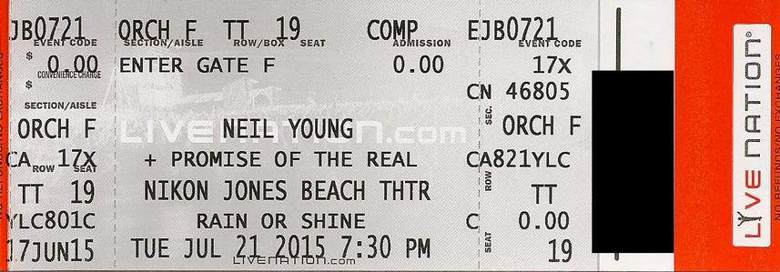 Jones Beach, Wantagh, NY - July 21 - Orchestra F Row TT Seat 19