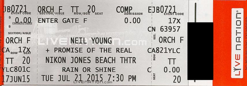 Jones Beach, Wantagh, NY - July 21 - Orchestra F Row TT Seat 20
