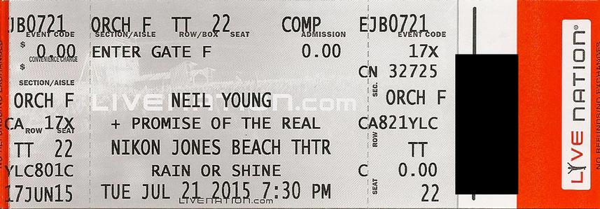 Jones Beach, Wantagh, NY - July 21 - Orchestra F Row TT Seat 22