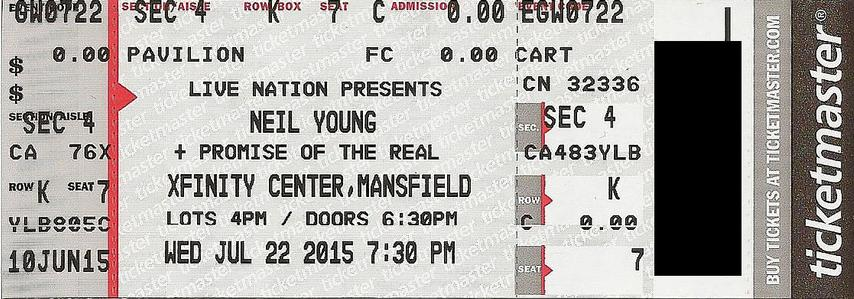 Mansfield, MA - July 22 -  Section 4 Row K Seat 07