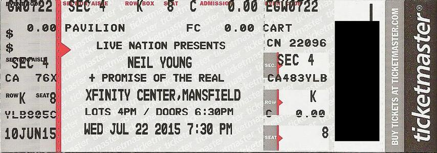 Mansfield, MA - July 22 -  Section 4 Row K Seat 08