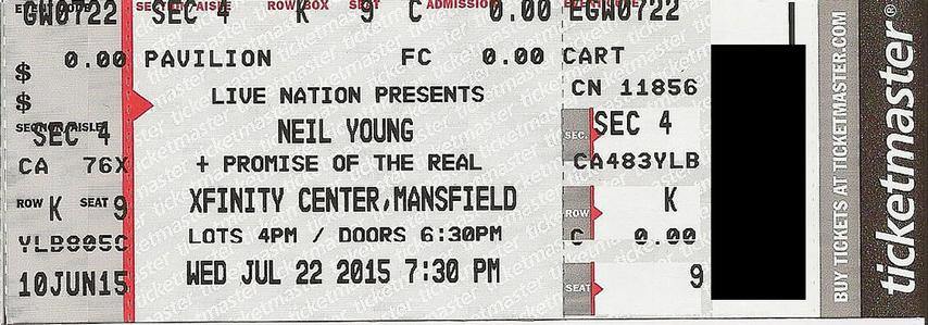 Mansfield, MA - July 22 -  Section 4 Row K Seat 09