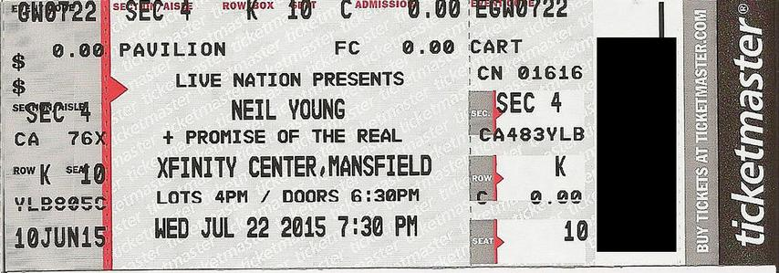 Mansfield, MA - July 22 -  Section 4 Row K Seat 10