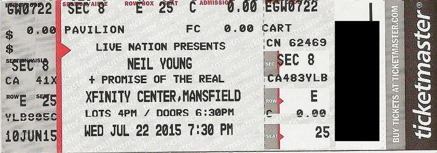 Mansfield, MA - July 22 -  Section 4 Row K Seat 25