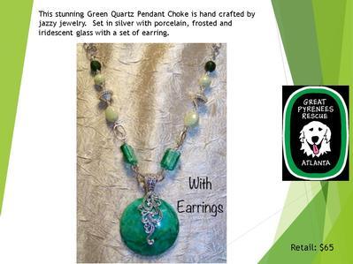 Green Quartz Pendant and earrings