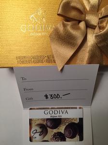 $300 Godiva Gift Certificate and Box of Chocolates