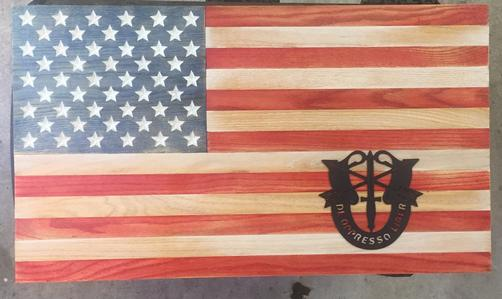 Oak American Flag with Special Forces Crest