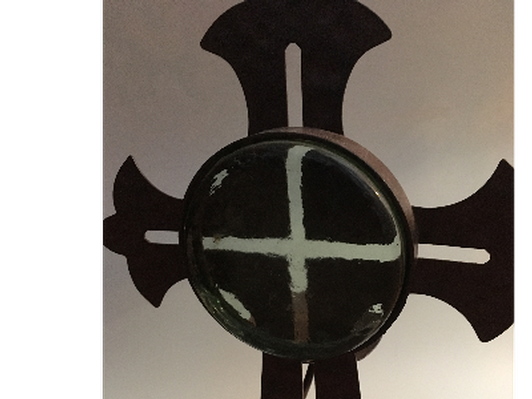 Metal and Glass Celtic Cross Candle holder