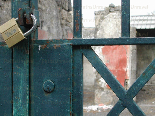 Pompeii Locked Gate, Signed Original