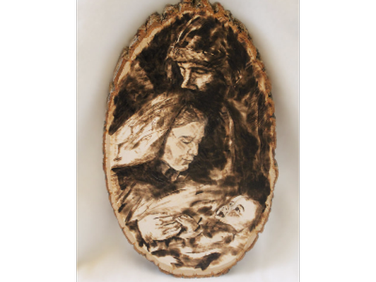Wood Burning of the Holy Family