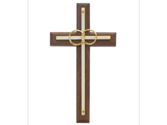 Cana Gold and White Walnut Wedding Cross