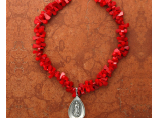 Our Lady of Guadalupe Coral Sterling Silver Necklace