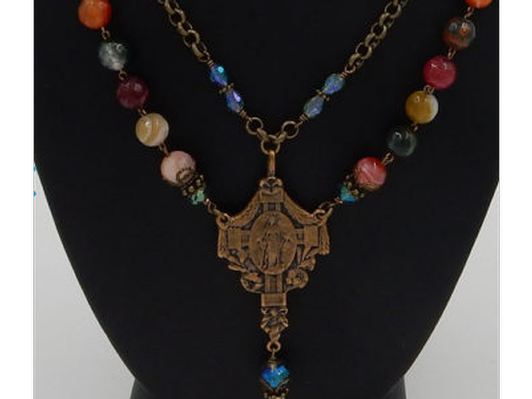 Our Lady of Grace Agate and Crystal Multi-Strand Necklace