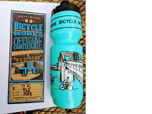 Baltimore Bicycle Works $25 Gift Certificate and water bottle