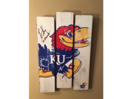 KU Wooden Sign autographed by Bill Self