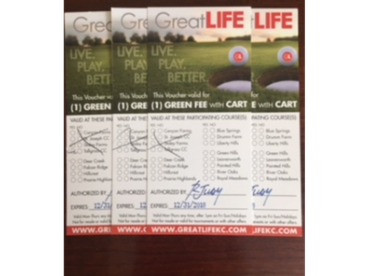 4 Great Life Golf Vouchers - includes green fee and cart.