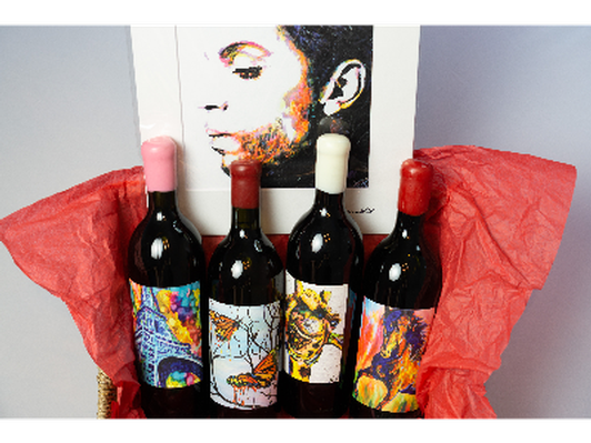 Signed John Bramblitt Wine & Print Package