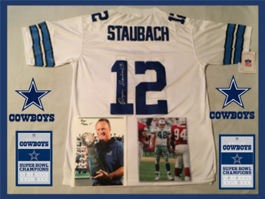 596b1737bce Roger Staubach SIGNED #12 Dallas Cowboys jersey w/ signed photos of Daryl