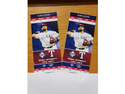 Two (2) Rangers Tickets behind Visitor Dugout - 9/17/2018