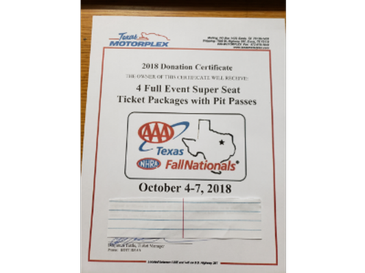 4 Full Event Super Seat Ticket Packages with Pit Passes