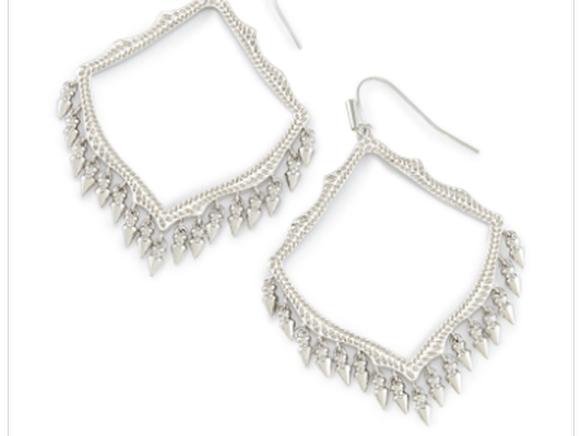 Lacy Drop Earrings Rhodium with Nail Lacquer Sage Agate