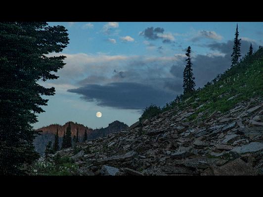 Moonrise over Sawtooth Mountain