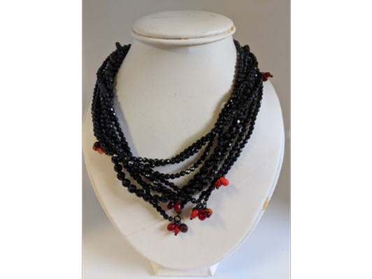 Black and red handcrafted necklace