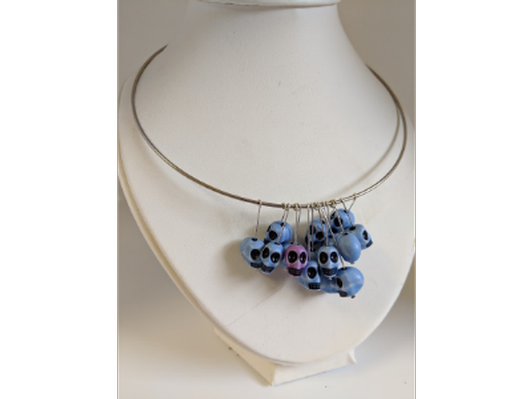 Skull bead necklace on Wire Hoop
