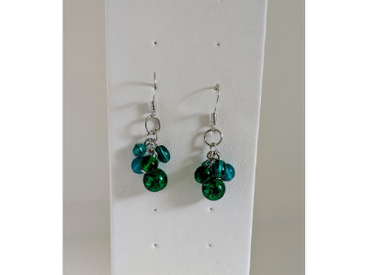 Hand crafted green bead earrings