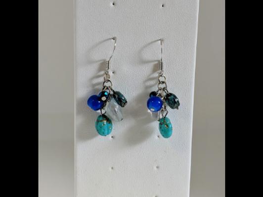 Blue & Turquoise Glass Bead Earrings