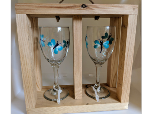 Set of two hand painted wine glasses