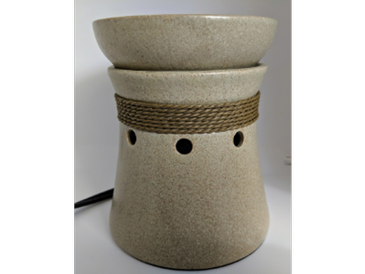 Beige Scentsy burner with decorative rope