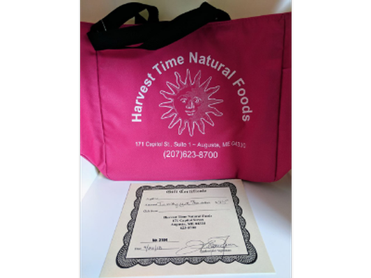 Harvest Time Natural Foods $25 gift certificate and canvas bag