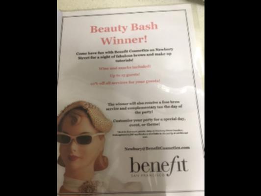 """Beauty Bash"" from Benefit Cosmetics on Newbury Street in Boston"