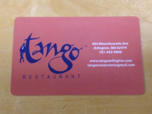 Tango restaurant certificate
