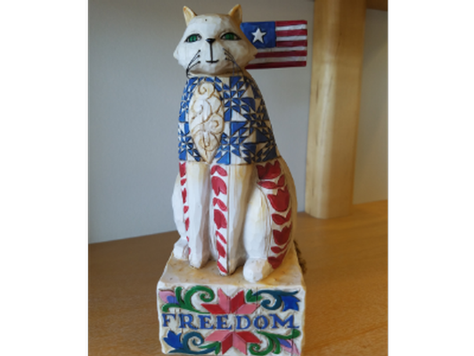 """With Liberty and Justice for All"" Jim Shore Patriotic Feline Statue"