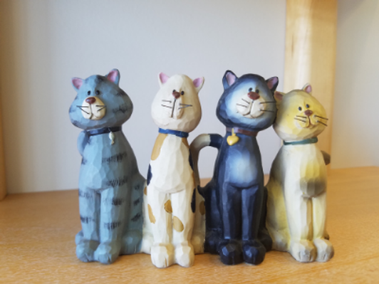 Group of 4 Wooden Cats