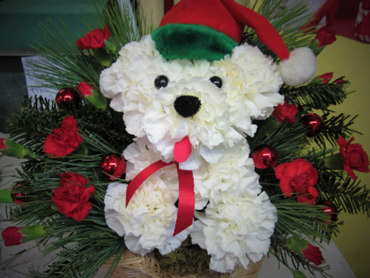 Santa Paws Flower Arrangement - Rachels Rose Garden