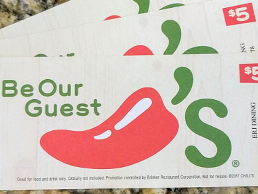 Chili's $15 in Gift Certificates