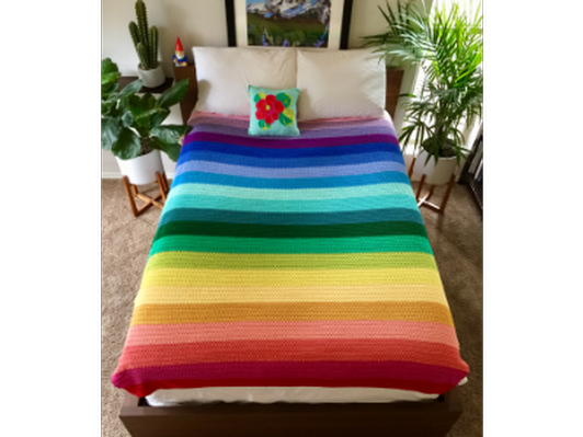 Handmade Cotton Rainbow Blanket