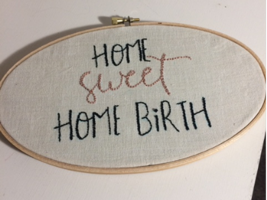 Hand Embroidered Home Birth Art