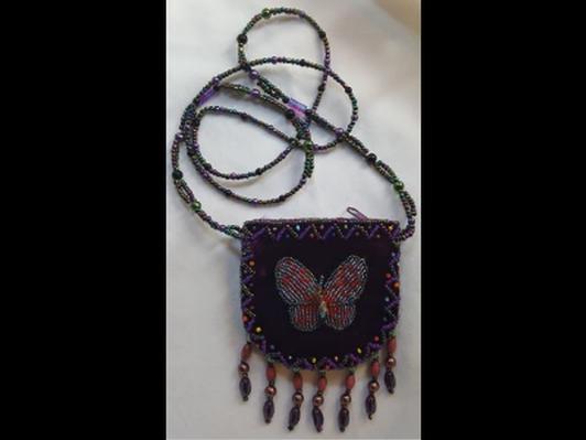 Velvet Bead Pouch Butterfly Purple